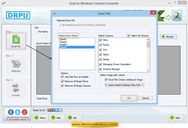 Excel to Windows Contacts Converter screenshots to know how